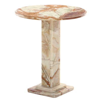 Banded Travertine Pedestal Table