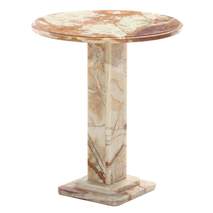 Banded Travertine Pedestal Table