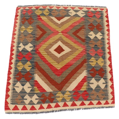 3'4 x 3'8 Handwoven Afghan Kilim Wool Accent Rug