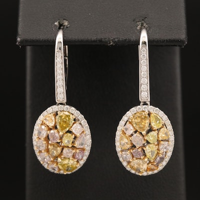 18K 4.29 CTW Diamond Earrings with GIA Report