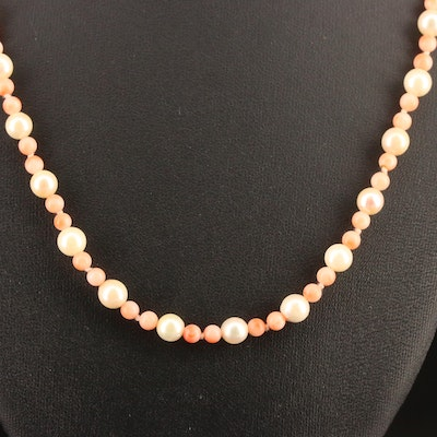 Knotted Pearl and Coral Necklace with 9K Clasp
