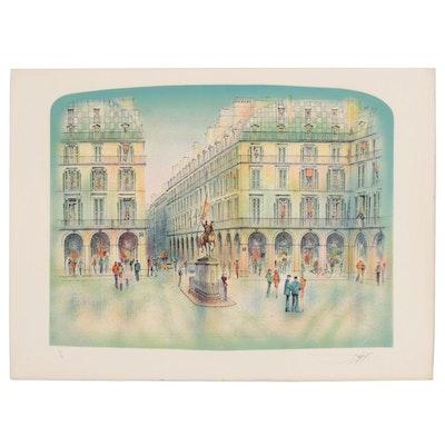 "Rolf Rafflewski Color Lithograph ""Place Jeanne d'Arc"""