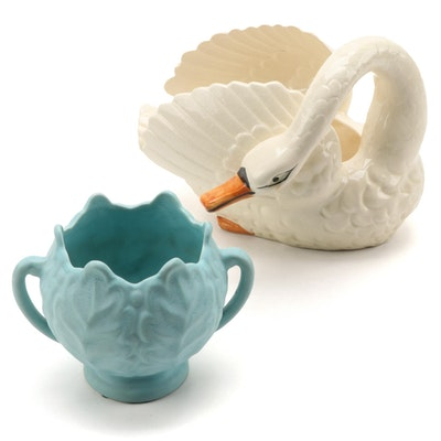 Japanese Swan Ceramic Swan Planterwith Other
