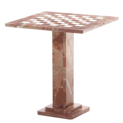 Italian Banded Travertine and Quartz Inlaid Chess Table