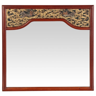 Chinese Chaozhou Style Giltwood Wall Mirror with Polychrome Figures