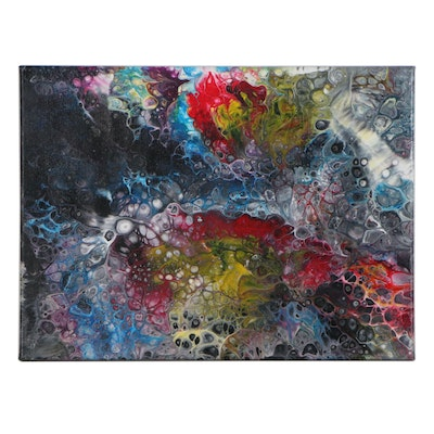 "Arnold Danilov Abstract Acrylic Painting ""Flower Galaxy,"" 2020"