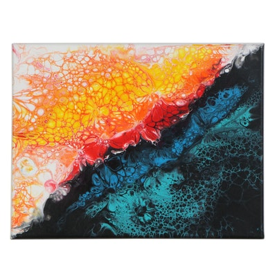 "Arnold Danilov Acrylic Pour Painting ""Kimono,"" 2020"