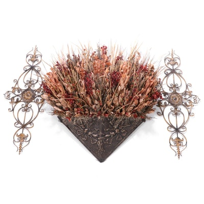 Large Faux Botanical Bunch and Aged Metal Wall Decor