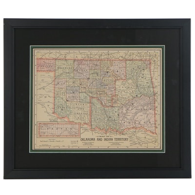 "Color Wood Engraved Map ""Oklahoma and Indian Territory"""