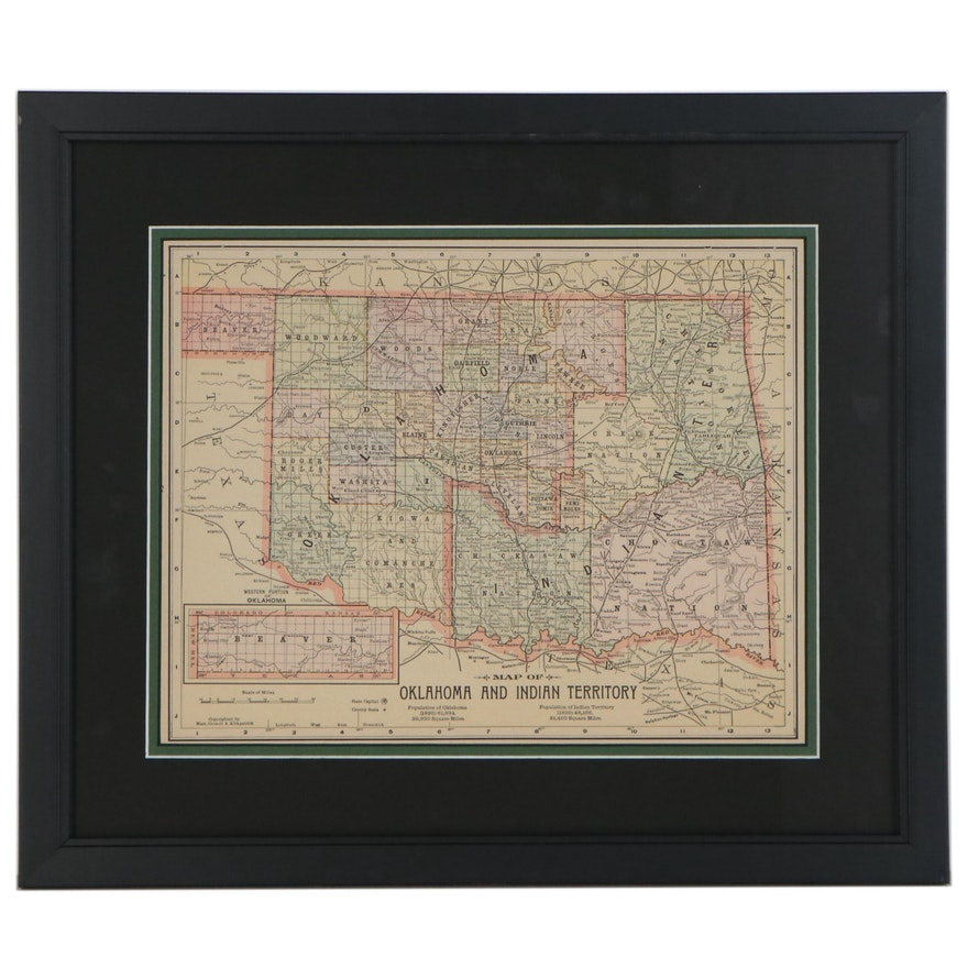 """Color Wood Engraved Map """"Oklahoma and Indian Territory"""""""