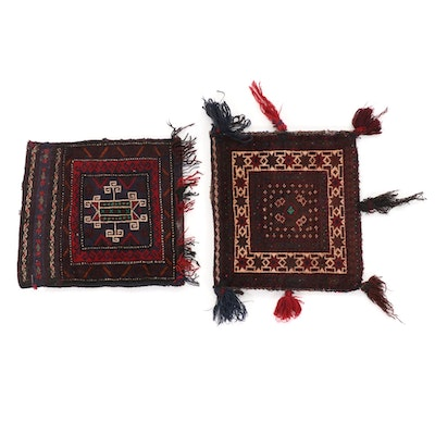 1'5 x 1'3 Hand-Knotted Afghan Turkmen Wool Salt Bags