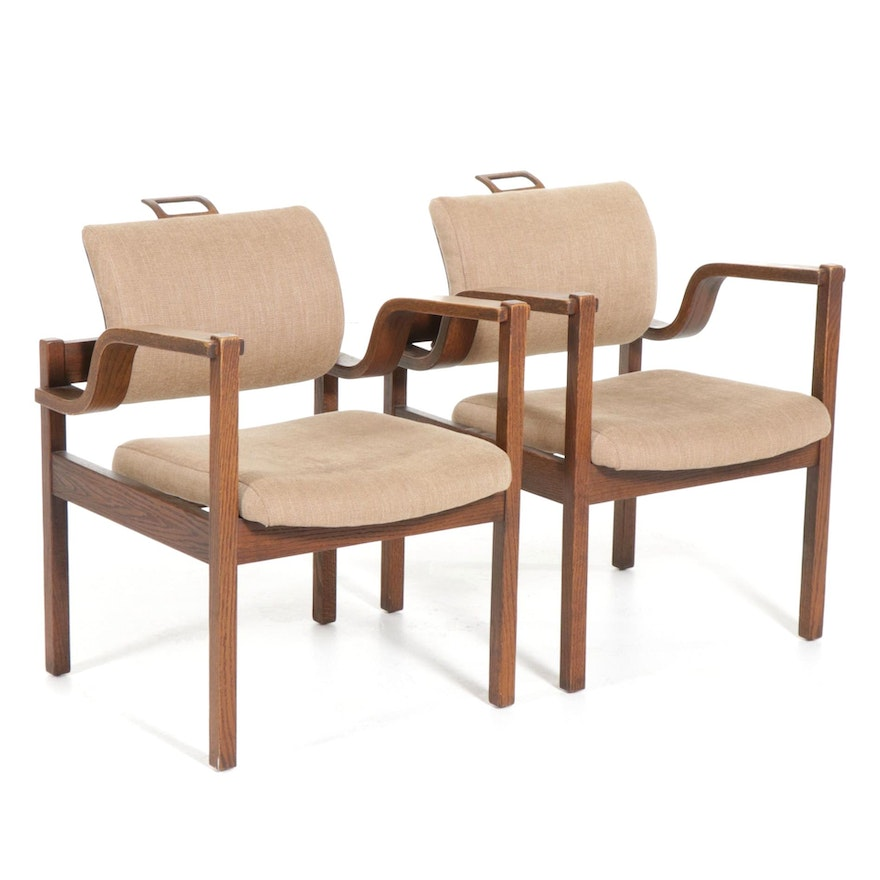 Pair of Modernist Style Oak Bentwood Armchairs, 20th Century