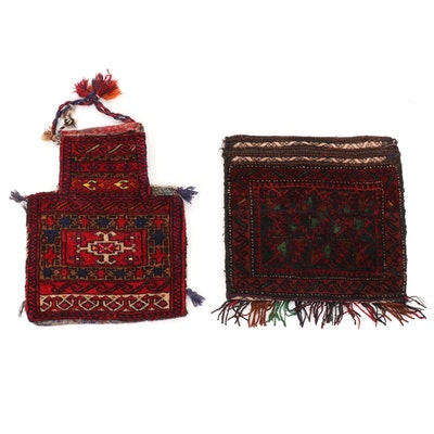 1'5 x 1'4 Hand-Knotted Afghan Tribal Wool Salt Bags
