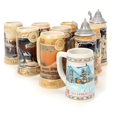 Miller High Life and Other Beer Steins with Pewter Lids, Late 20th Century
