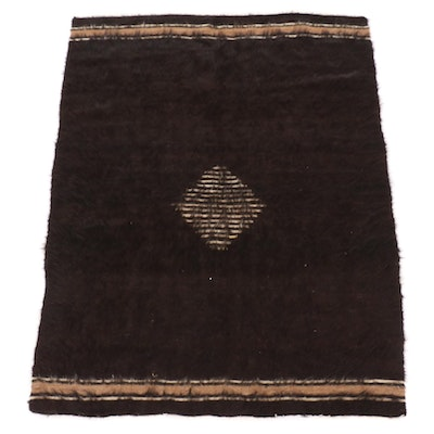 4'2 x 5'6 Handwoven Turkish Goat Hair Shag Area Rug