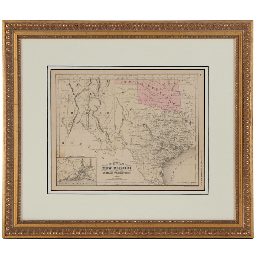 Francis McNally Hand-Colored Engraved Map of Texas and New Mexico
