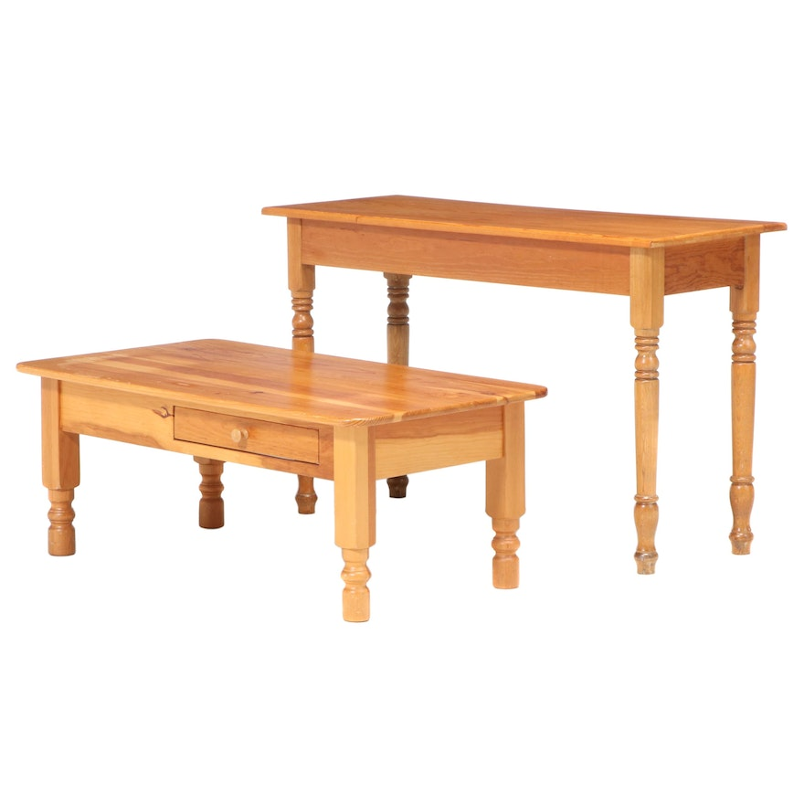American Primitive Style Pine Console Table and Coffee Table, Late 20th Century