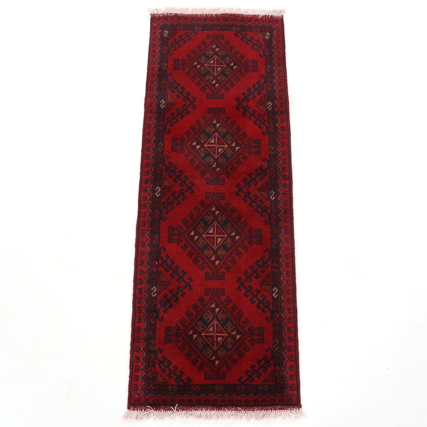 1'9 x 5' Hand-Knotted Afghan Turkmen Wool Area Rug