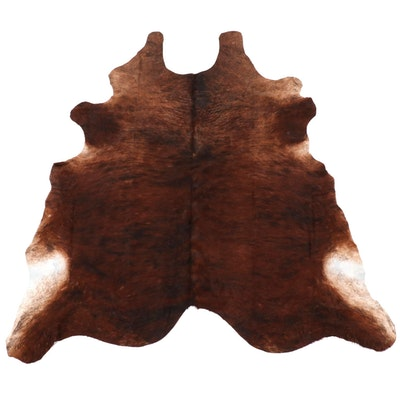 6'3 x 6'8 Natural Brindle Cow Hide Area Rug