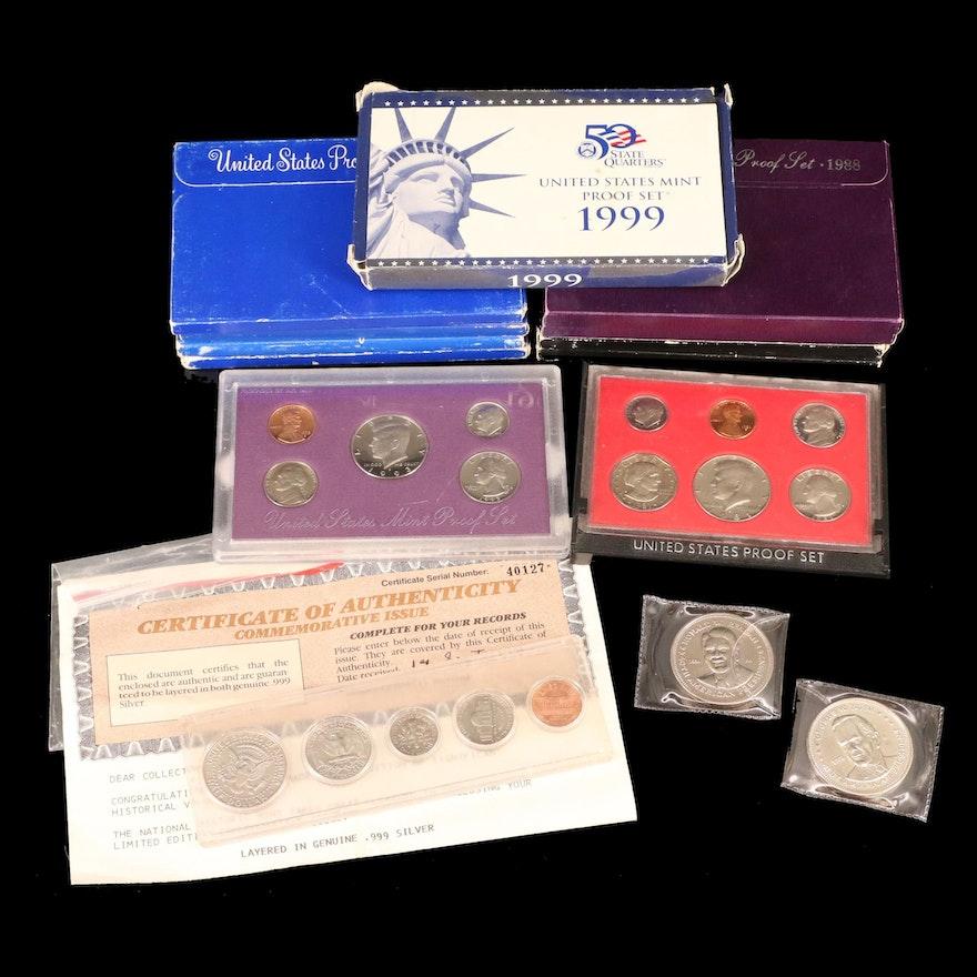Eleven U.S. Mint Proof Sets, 1968–1999