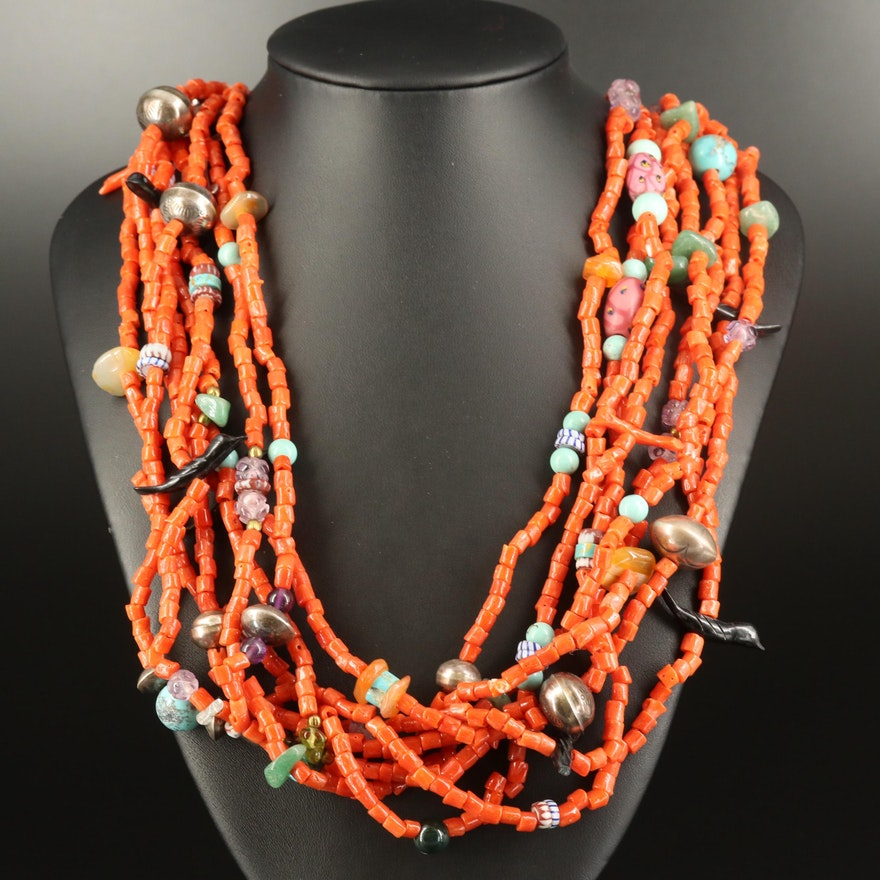 Sterling Coral, Amethyst and Peridot Multi-Strand Necklace