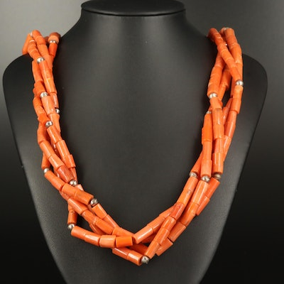 Sterling Coral Multi-Strand Necklace