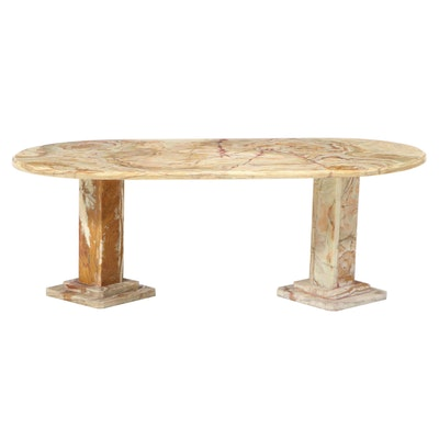 Italian Banded Travertine Double Pedestal Oblong Shaped Coffee Table