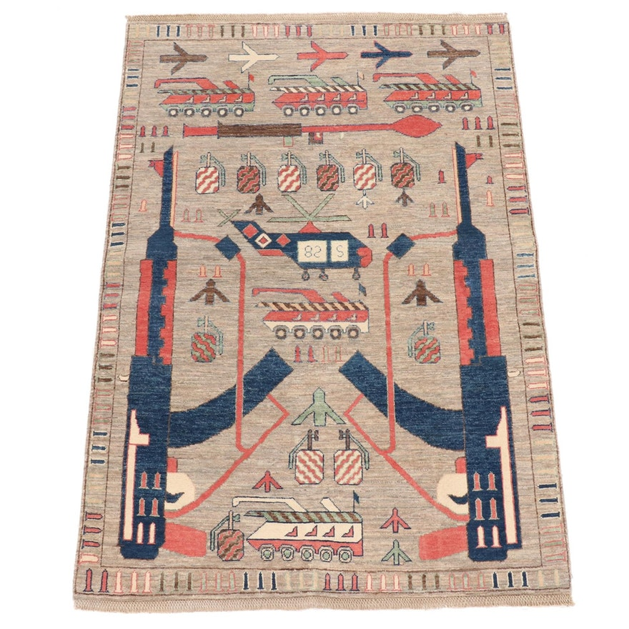 4' x 5'11 Hand-Knotted Afghan Wool War Rug