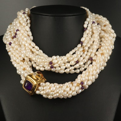 18K Pearl, Amethyst and Citrine Torsade Necklace