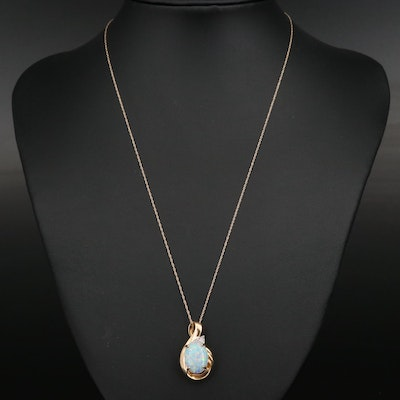 10K Opal and Diamond Pendant on 14K Chain