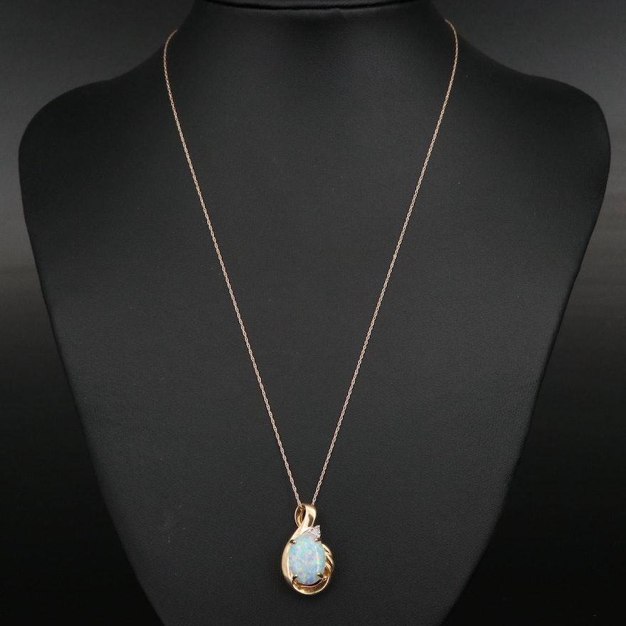 10K Opal and Diamond Pendant on 14K Chain