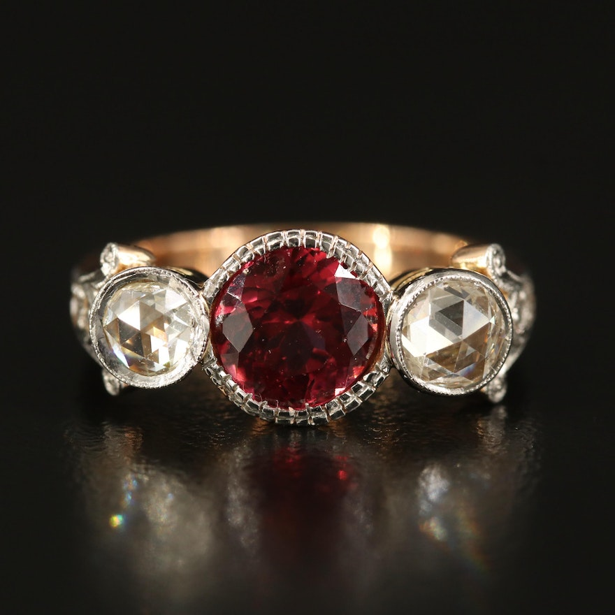 18K Two-Tone Garnet and Diamond Ring with GIA Report