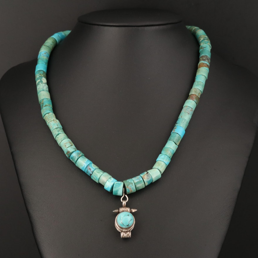 Sterling Hand Turned Turquoise Bead Necklace with Locket