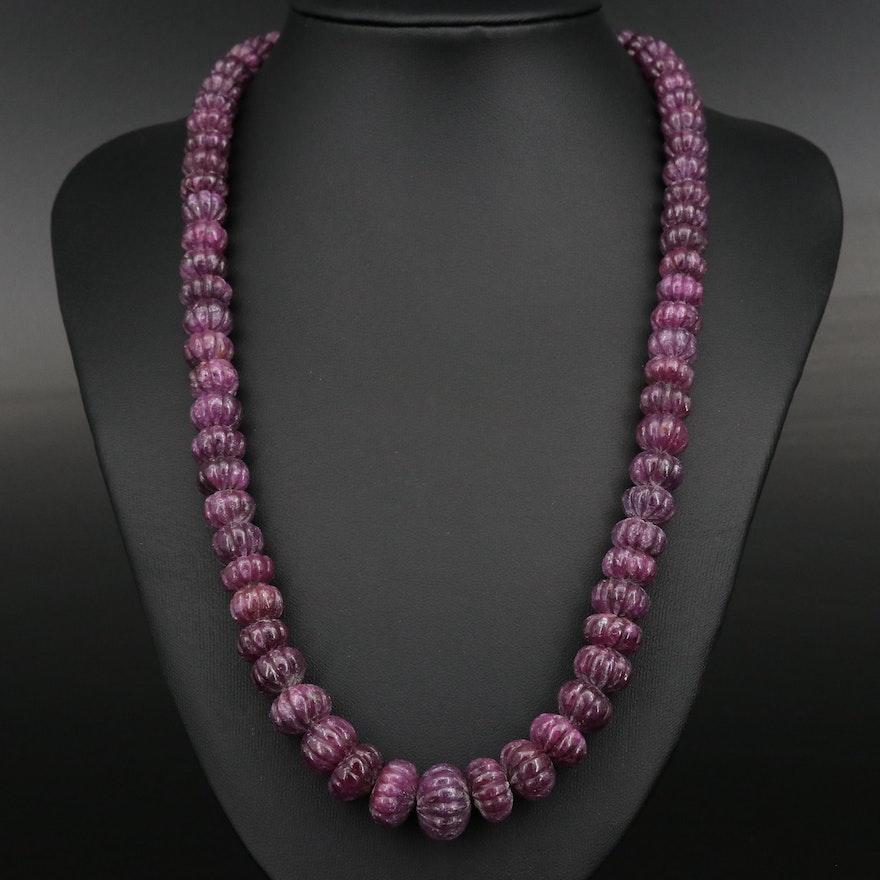 Graduated Corundum Beaded Necklace