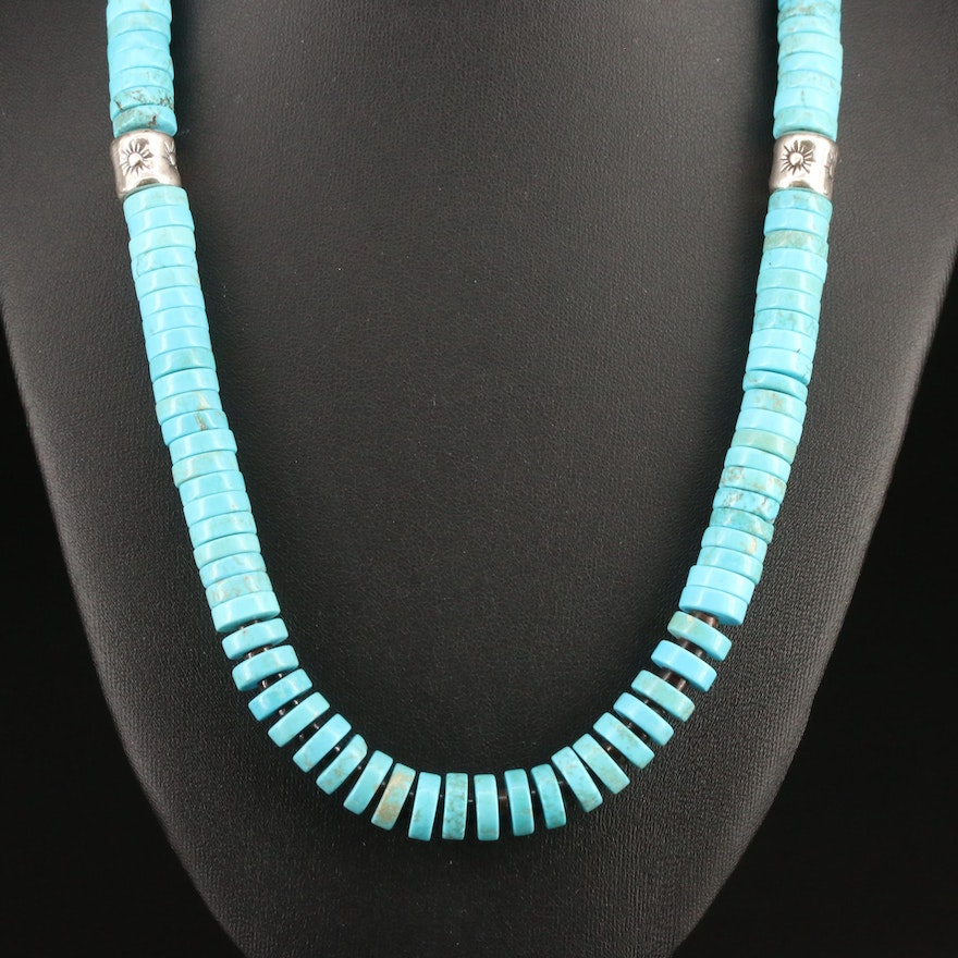 Western Style Turquoise and Horn Necklace with Sterling Clasp and Spacer Beads