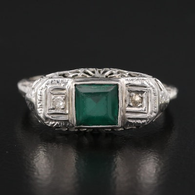 Vintage 14K Emerald and Diamond Openwork Ring
