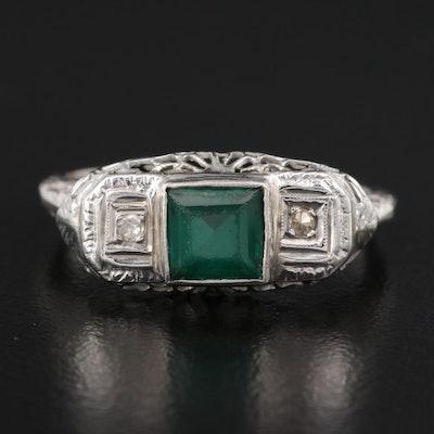 Vintage 14K Emerald and Diamond Openwork Ring