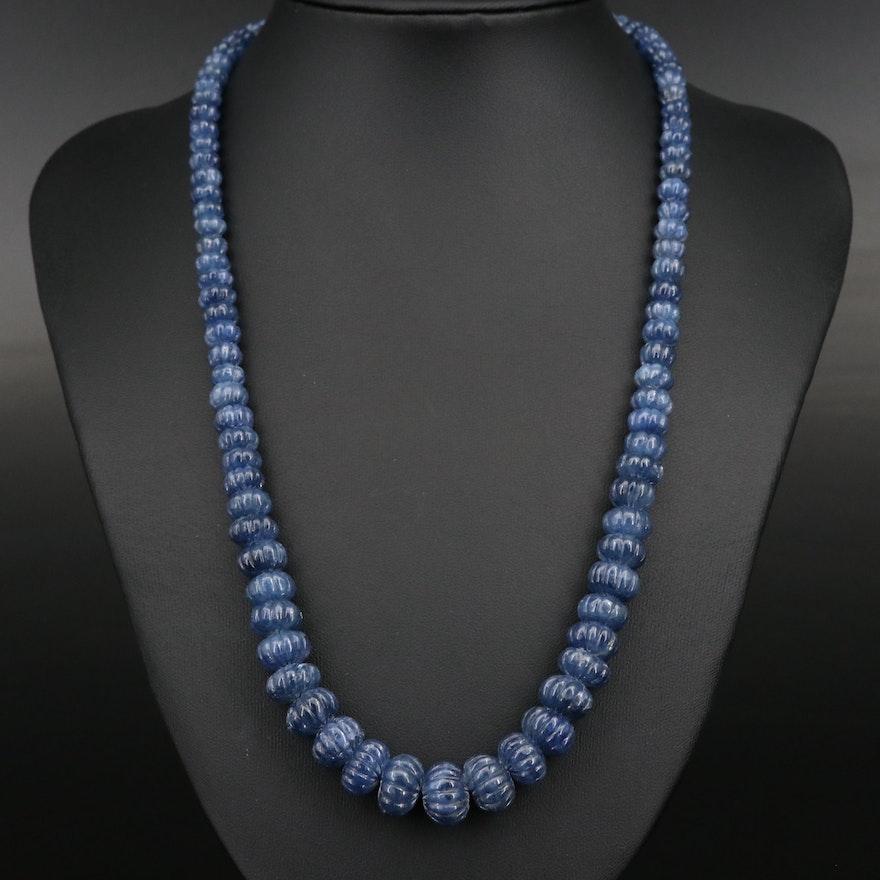 Carved Graduated Corundum Bead Necklace