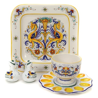 Deruta Italy Hand-Painted Ceramic Serveware and Table Accessories