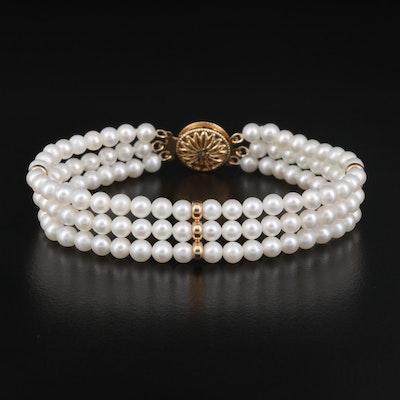 14K Pearl Trible Strand Bracelet