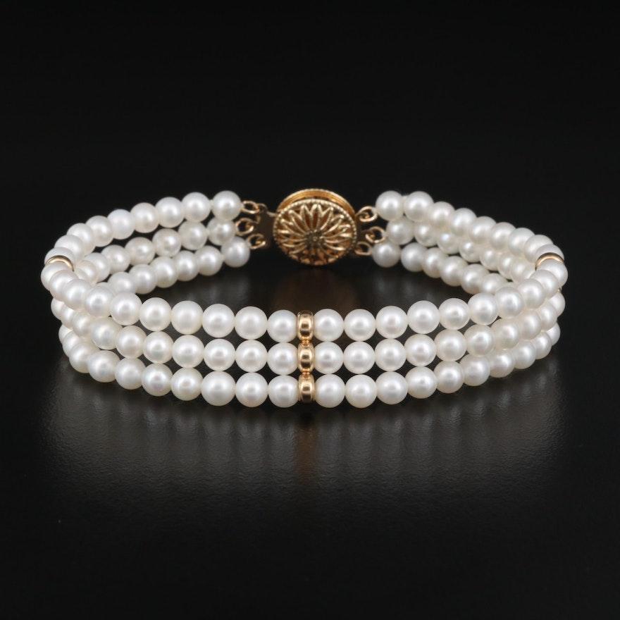 14K Pearl Triple Strand Bracelet