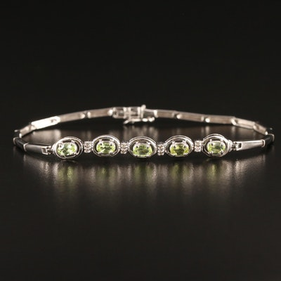 14K Peridot and Diamond Bracelet