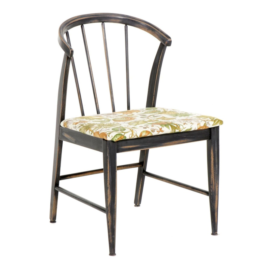 Wishbone Style Spindle Back Painted Wood Side Chair, Late 20th Century