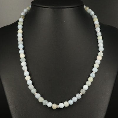 Beaded Agate Necklace with Sterling Clasp