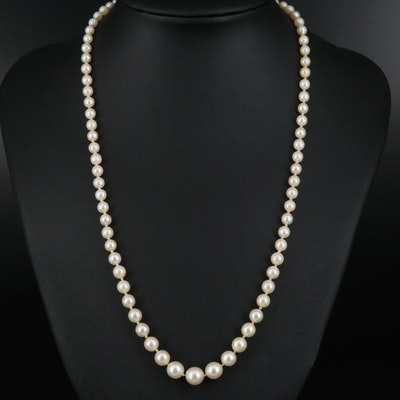 Graduated Pearl Necklace with 18K Sapphire and Diamond Clasp