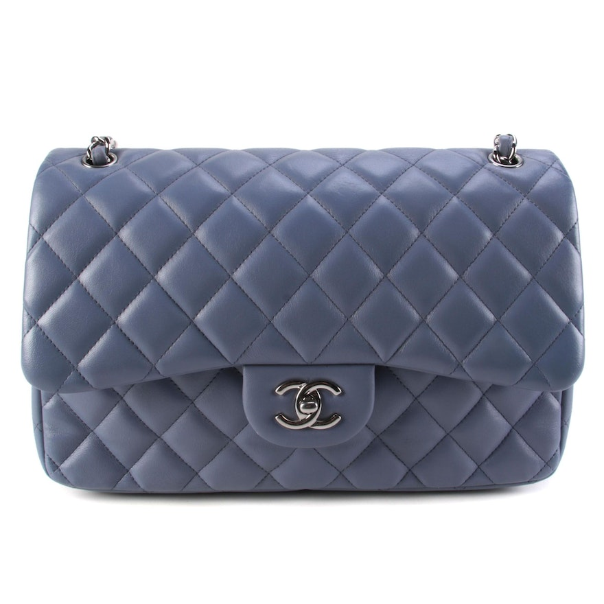 Chanel Classic Double Flap Quilted Lambskin Leather Front Flap Bag