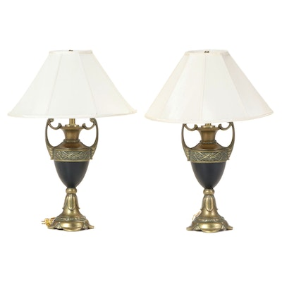 Pair of Neoclassical Style Cast Metal Urn-Form Table Lamps