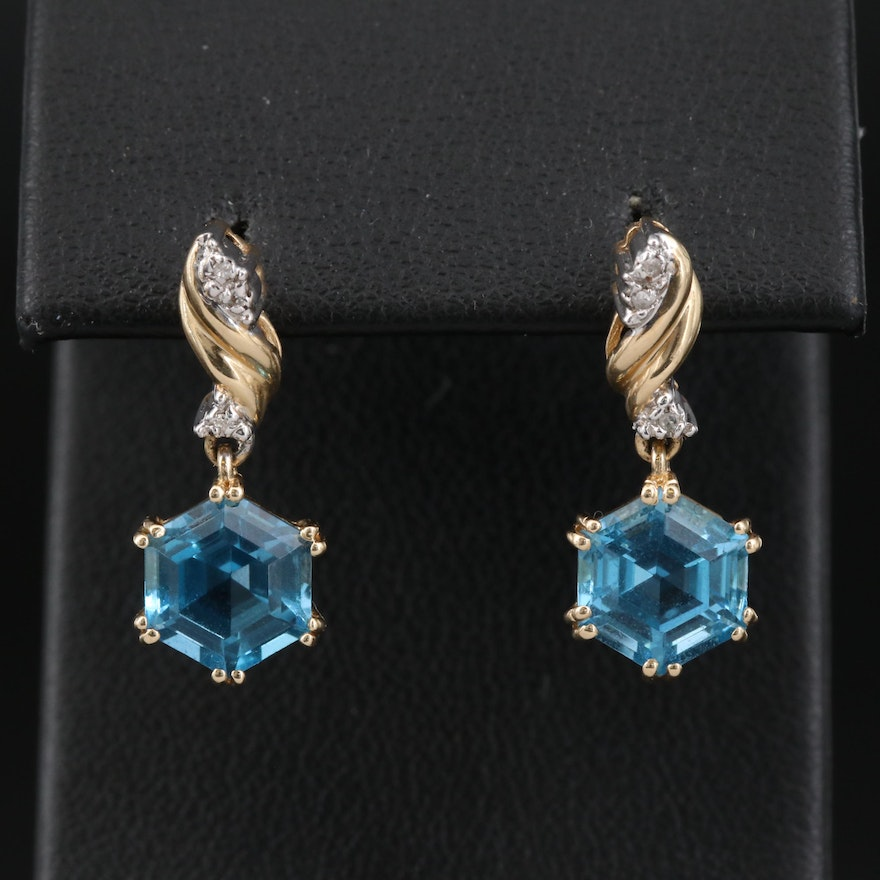14K Topaz and Diamond Drop Earrings