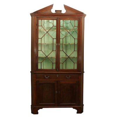 Chippendale Style Mahogany Corner Cabinet