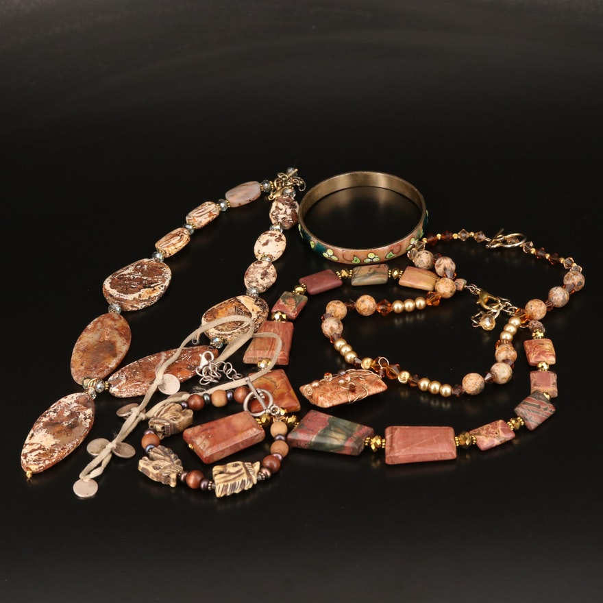 Necklaces and Bracelets Including Sterling, Jasper, Bone and Glass